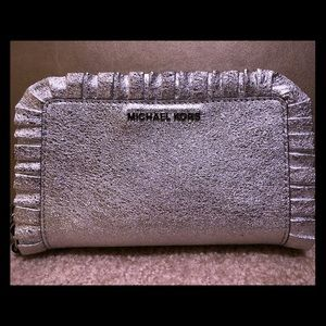 MICHAEL KORS Ruffled Metallic Leather Wristlet